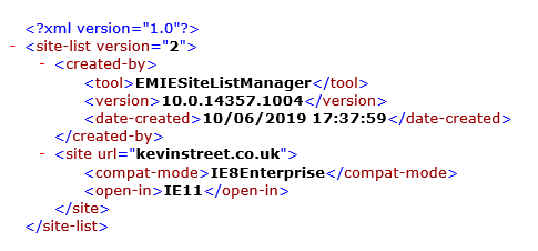 Adding my site to Enterprise Mode XML