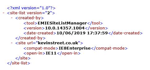 Adding my site to Enterprise Mode XML