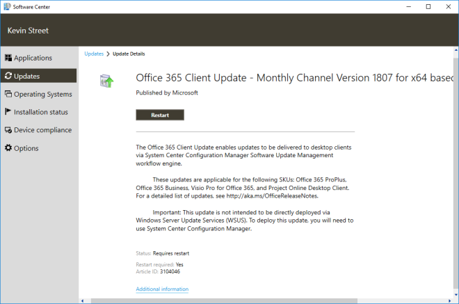 Updating Office 365 client with SCCM – Kevin's tech blog