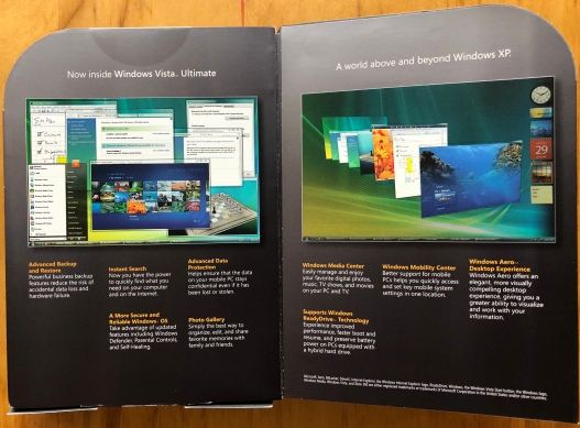Windows Vista Ultimate Signature Edtion inside cover