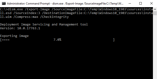 dism.exe /Export-Image /SourceImageFile:C:TempWindows10_1903sourcesinstall.esd /SourceIndex:3 /DestinationImageFile:C:TempWindows10_1903sourcesinstall.wim /Compress:max /CheckIntegrity