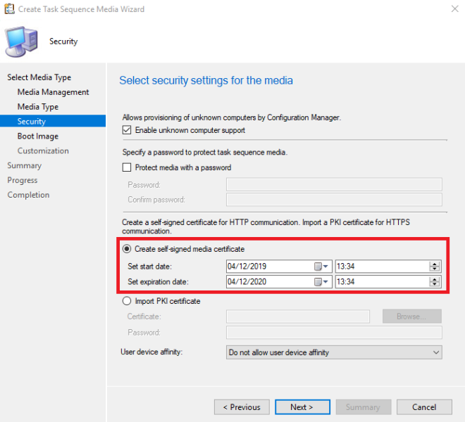Create Task Sequence Media Wizard - Self-Signed Certificate