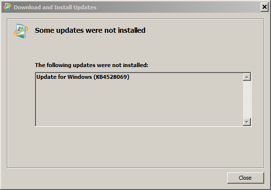 KB4528069 Fails to Install