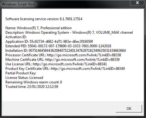 License Info Before ESU MAK key applied
