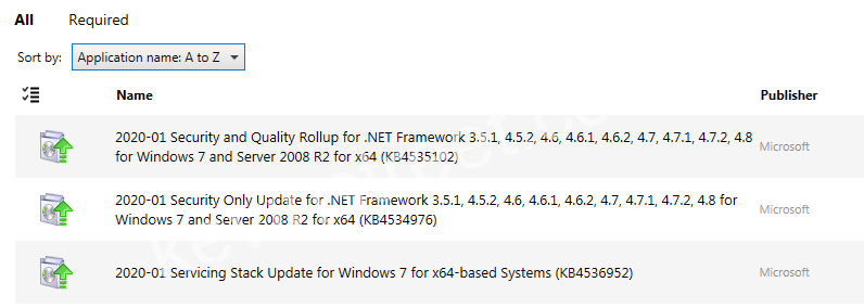 List Of Updates Available Pre-ESU MAK Key Installation