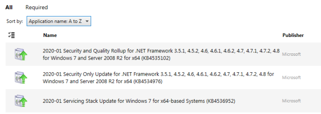 List of available updates before the ESU MAK key has been applied
