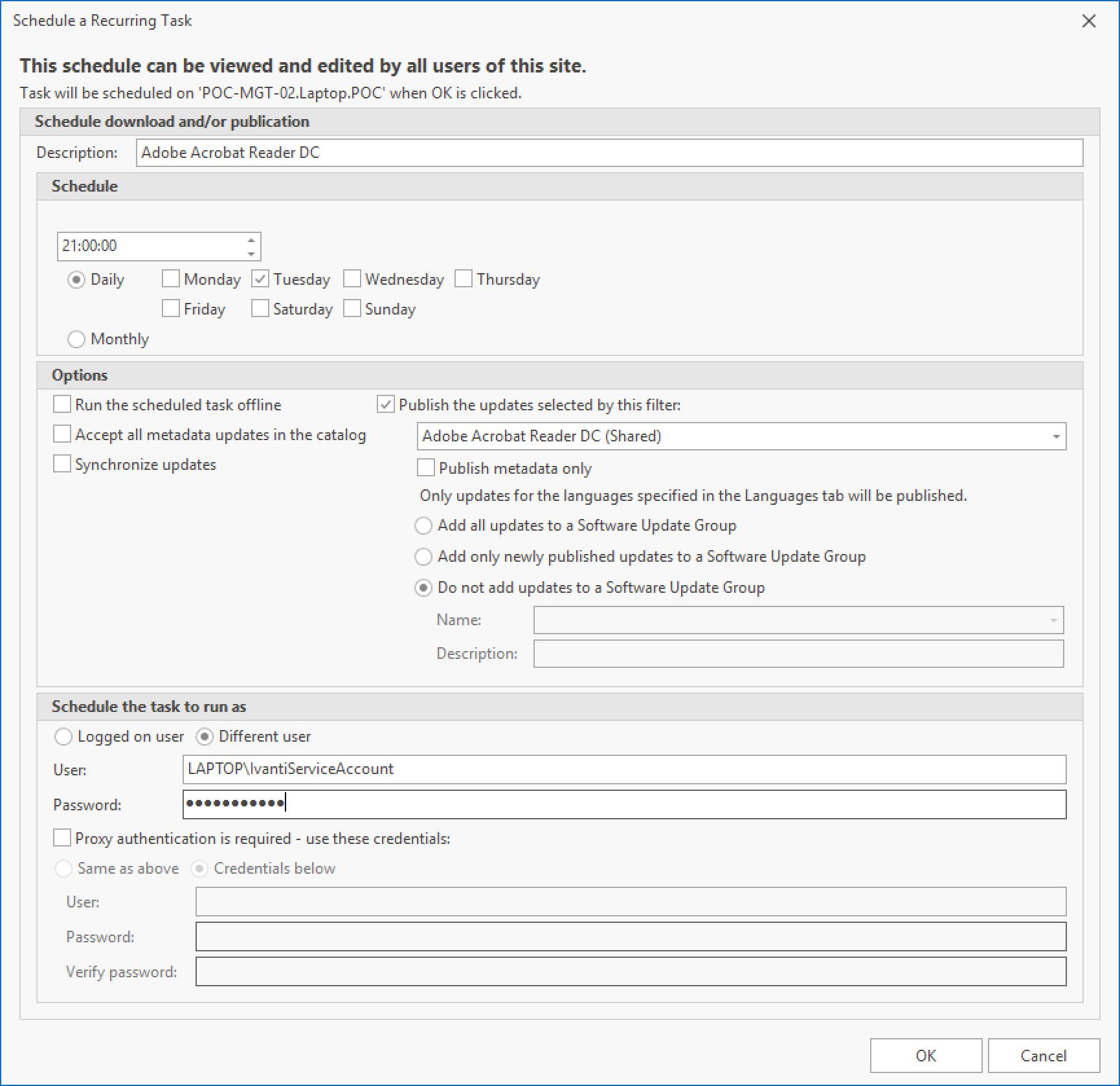 Adobe Acrobat Reader DC Scheduled Task