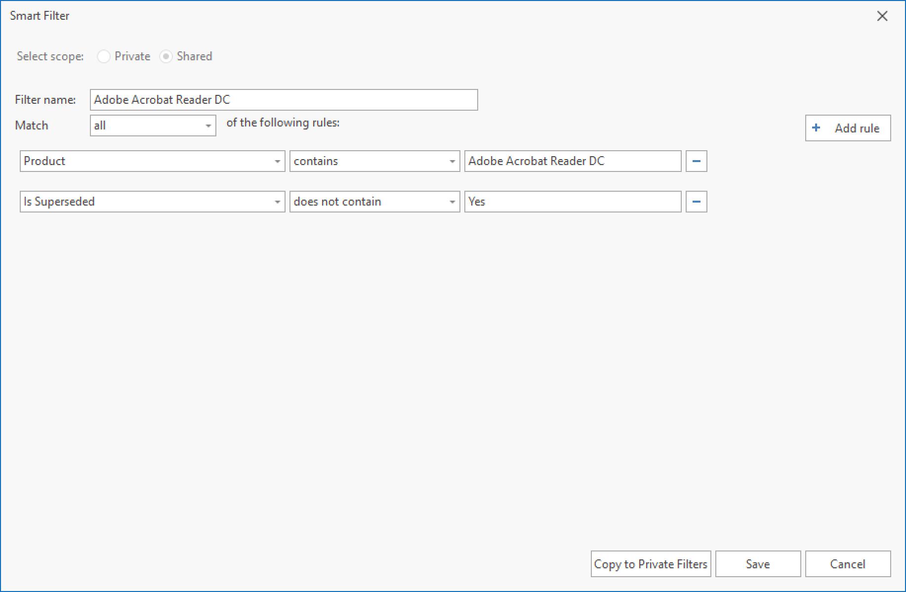 Adobe Acrobat Reader DC Smart Filter