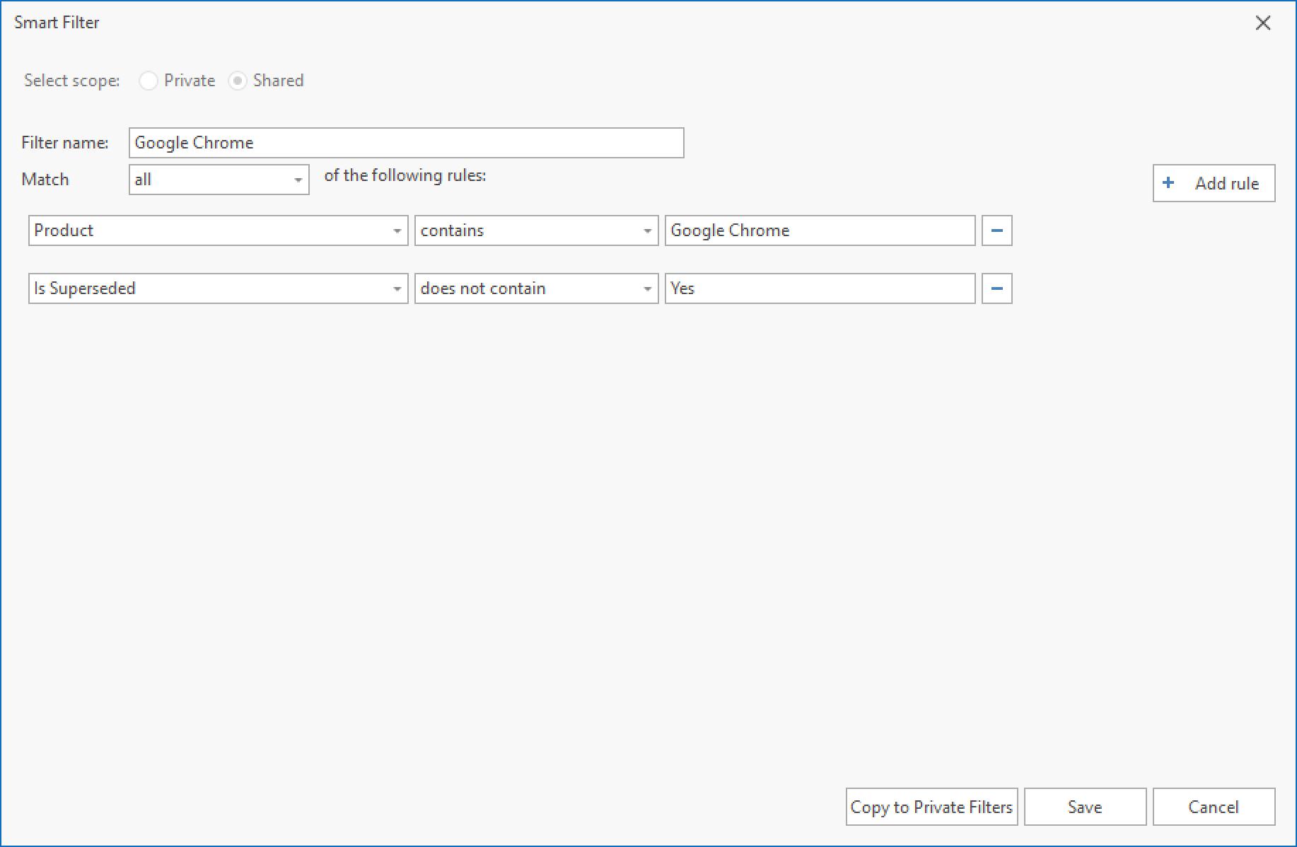 Google Chrome Smart Filter