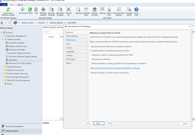 Ivanti Patch for SCCM first load