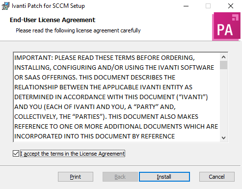 Ivanti Patch for SCCM Installation