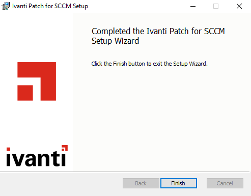 Ivanti Patch for SCCM Installation Complete