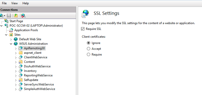Require SSL on WSUS Directories