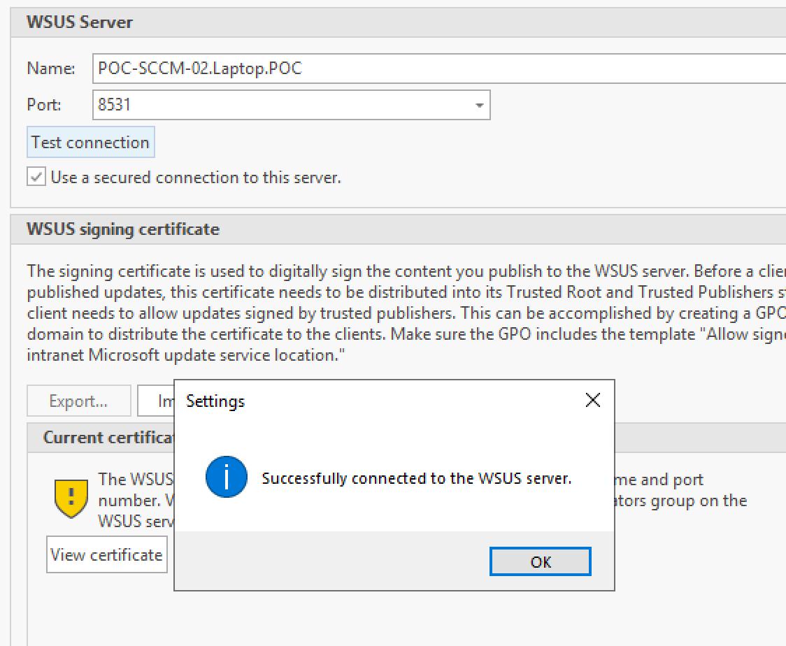 Test SSL WSUS Server Connection