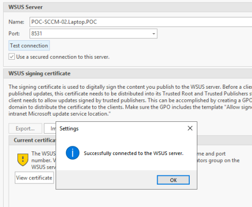 Test SSL WSUS Server Connection