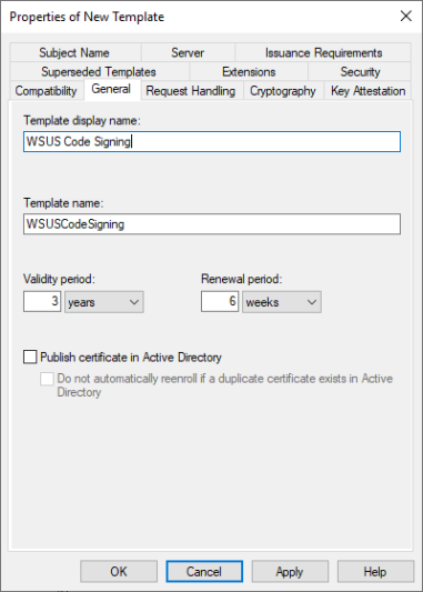 WSUS Code Signing Template